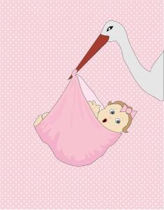 Cigüeña lleva un bebe con el pico en una manta rosa.